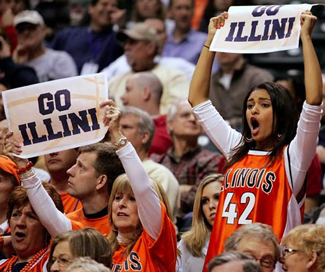 Illinois fans cheer on their Illini.