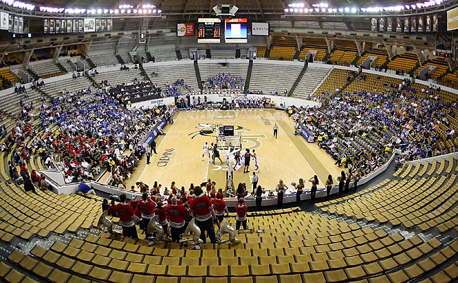 Fans (or lack thereof) watch Saturday's SEC tournament game between Kentucky and Georgia at the Alexander Memorial Coliseum, on the campus of Georgia Tech. The game was played in front of family, friends and media only.