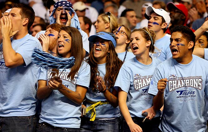 San Diego fans were all smiles after the Toreros upset UConn during first-round action.