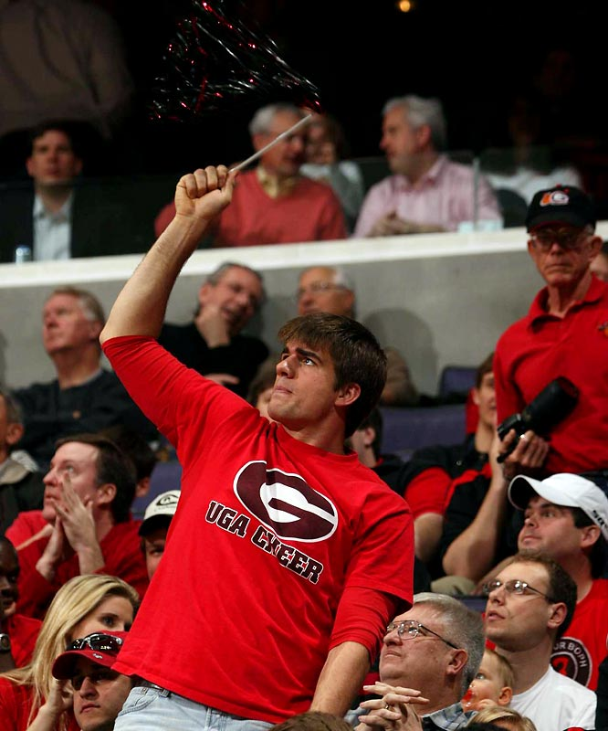 A UGA fan (and his pom-pom thingy) takes in the Dawgs' first-round matchup against Xavier.