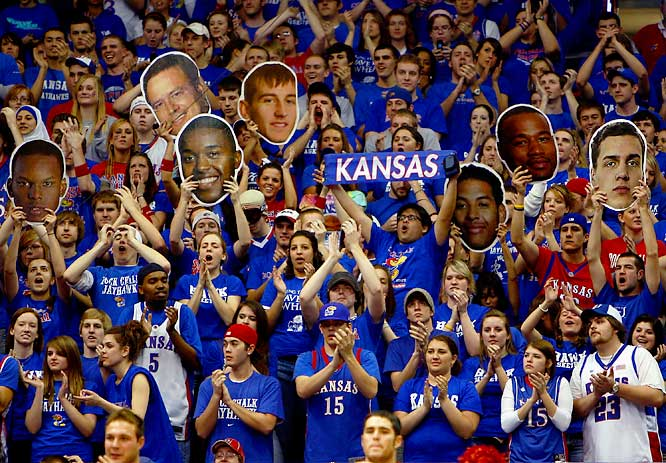 Kansas fans are ecstatic after the Jayhawks embarrassed Texas Tech, 109-51, on Monday.