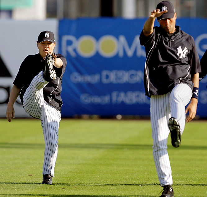 Wow. Derek Jeter can't even kick his leg higher than a 60-year-old comedian.