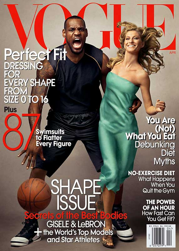 "Brady's lady plays at night, but works during the day. She's appearing on the cover of this month's ""Vogue"" with LeBron James, who's only the third male to appear on the mag's cover."