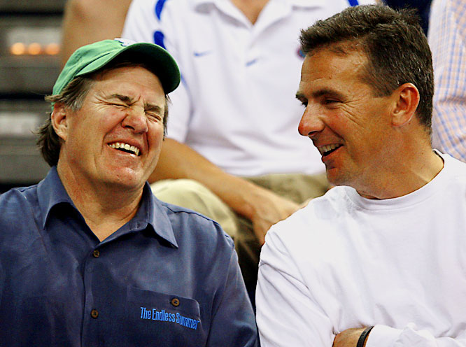 Urban Meyer is not only a great coach, but he can do something that nobody else can do -- get Bill Belichick to laugh.