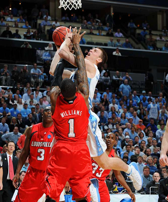 Pitted against a tough Louisville defense, Tyler Hansbrough showed why his jersey will be retired. He carried the Heels in the end, finishing with 28 points and 13 rebounds.