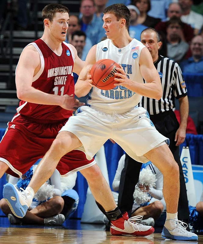 Washington State's Aron Baynes held Tyler Hansbrough to two points in the second half.  Not liking those low stats, Hansbrough came back to score 16 in the second on the Heels way to an easy win.
