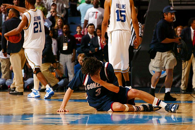 This was the game that inspired the infamous Adam Morrison crying-scene. Down by as many as 17 in the first half and nine with three minutes to go, the Bruins scored the last 11 points to squeak past Gonzaga.