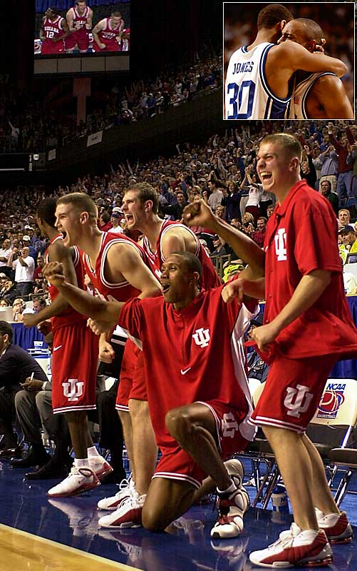 After chipping away at a deficit that was as big as 17, fifth-seeded Indiana toppled the defending national champion Blue Devils by one when Jason Williams, inset right, missed a key free throw. Indiana advanced to the Elite Eight for the first time since 1993.