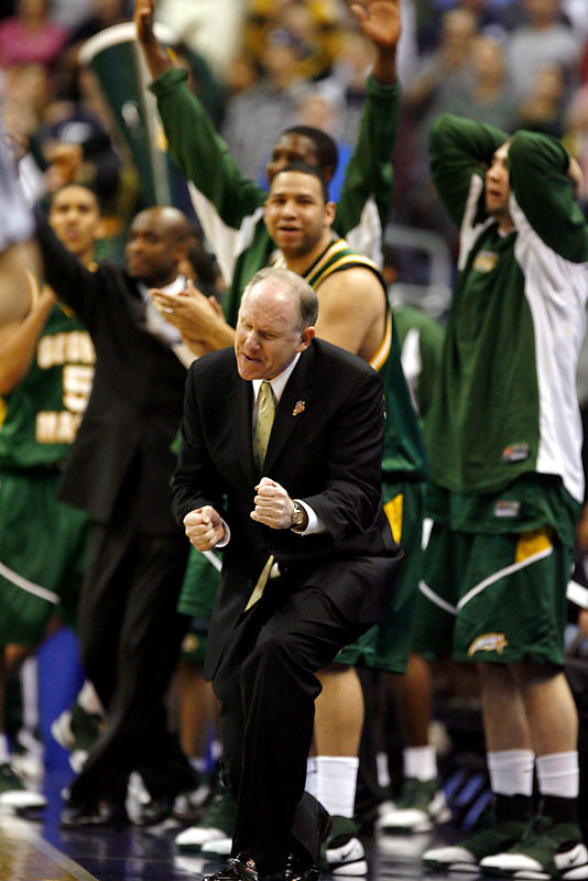 After trailing by nine in the second half, coach Jim Larranaga's Patriots hit six straight three-pointers in the second half to take the Huskies into overtime.  In the extra period, the Patriots hit 5-of-6, toppling UConn 86-84 and becoming the second 11th-seed team to reach the Final Four.