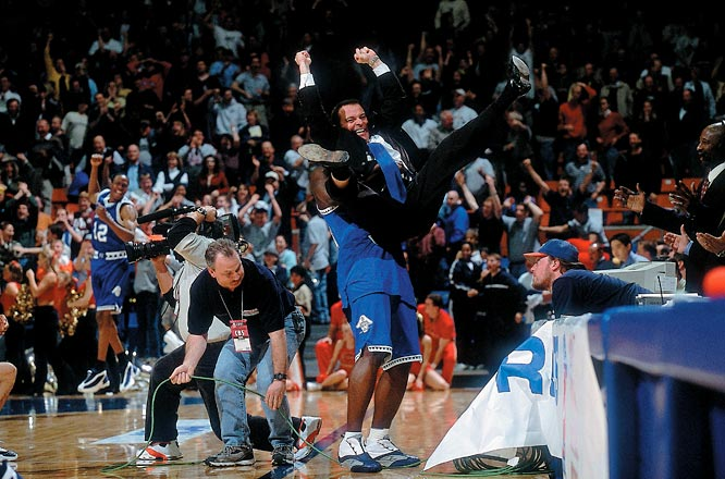 Hampton was down by as many as nine with seven minutes left in a 2001 contest, but the 15th-seed, coached by Steve Merfeld, went on a 14-2 run to topple second-seed Iowa State 58-57.  It was the first tournament appearance for Hampton, which became the fourth 15th seed in NCAA history to advance.