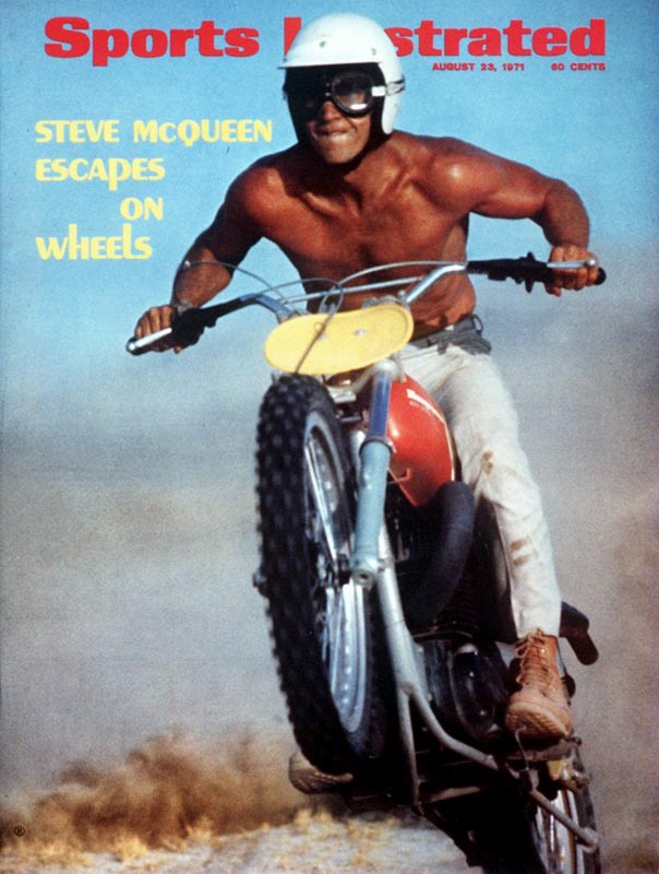 In addition to acting, Steve McQueen was an avid auto-and-motorcycle-racing fan who participated in several races for each sport in the early 1970s. This SI cover from August 1971 shows McQueen riding a Husqvarna dirt bike.