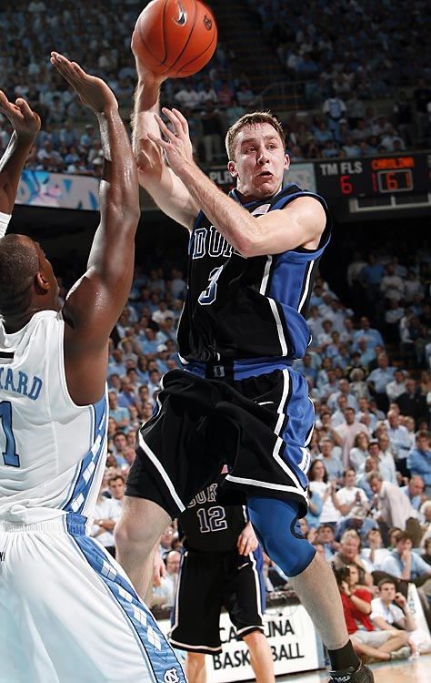 No. 2 Duke traveled to Chapel Hill and knocked off the third-ranked Tar Heels with a three-point barrage. The Blue Devils went 13-for-29 from three-point range, led by Greg Paulus, who went 6-for-8 from beyond the arc. Duke's win ended a three-game winning streak by the Tar Heels in the rivalry.