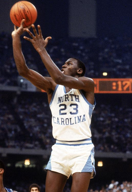 This was the last home game for Michael Jordan, but it is most memorable for future UNC coach Matt Doherty, who sends the game to OT with a buzzer-beater. Carolina capped a perfect ACC season, but is beaten by Duke one week later in the ACC tournament, a breakthrough win for the Blue Devils and their young coach, Mike Krzyzewski.