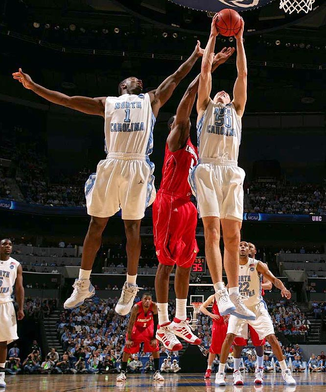 Marcus Ginyard (1), Tyler Hansbrough (50) and the Tar Heels stamped the program's first Final Four ticket since winning the national championship in 2005.