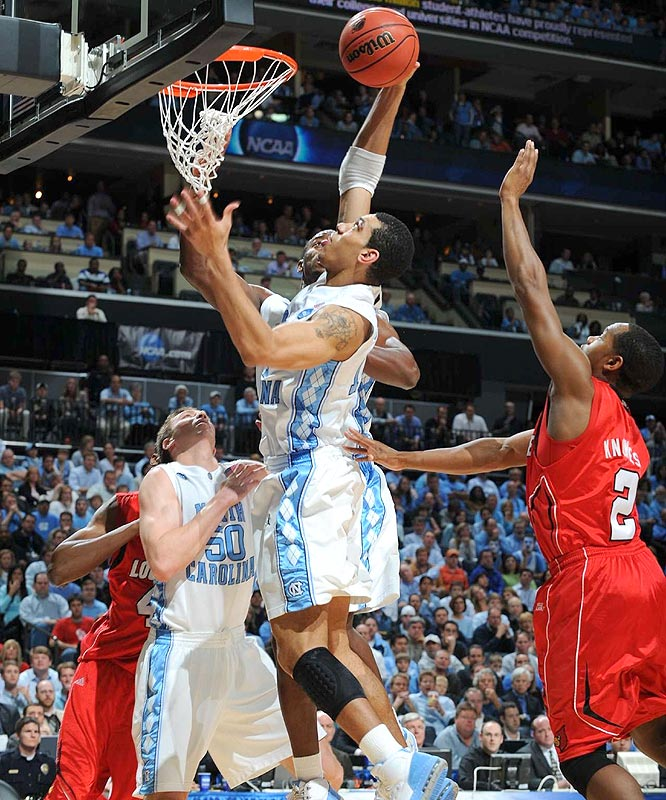 Danny Green and the Tar Heels blew a 12-point halftime lead but pulled away to earn a 17th trip to the Final Four.