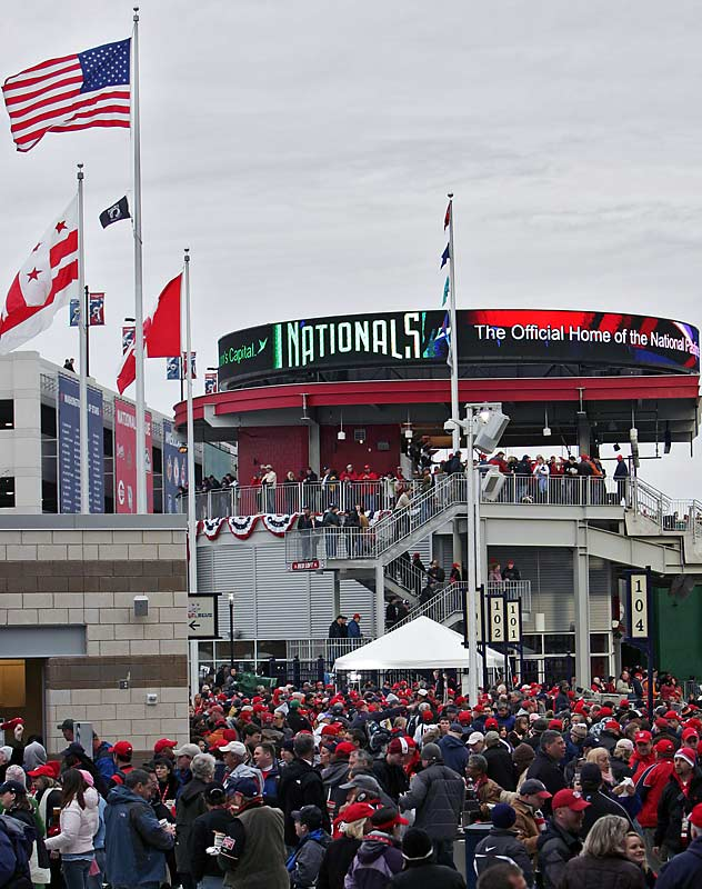 The masses pour into the new Nationals Park on Sunday.