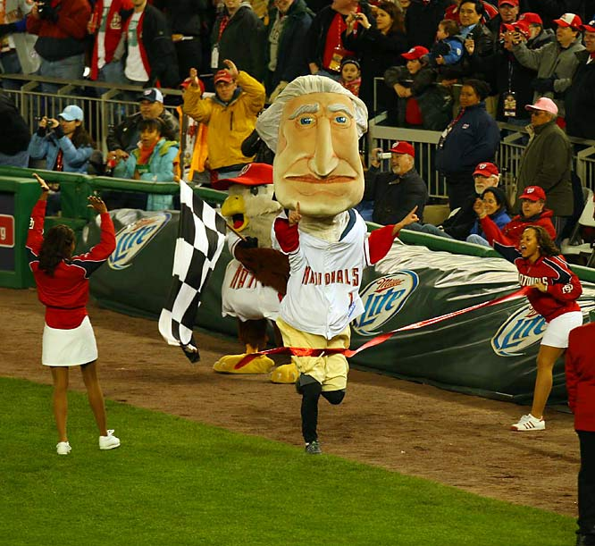 A George Washington mascot cheers on the Nationals, who won their season opener.