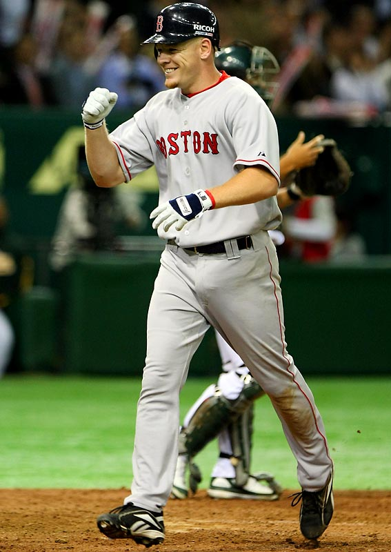 Red Sox rookie Brandon Moss, playing because J.D. Drew hurt his back in batting practice, hit a solo home run in the top of the ninth off Huston Street to tie the game 4-4.