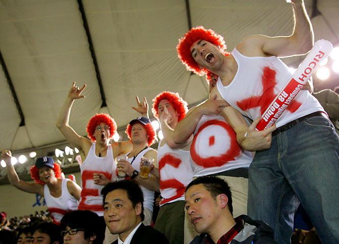 While most Red Sox fans had to wake up early to watch the game (6 a.m. EST), some actually found their way to Japan to cheer for their team.