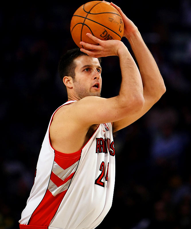 Kapono owes his free-agent payday with the Raptors (four years, $24 million) in large part to his long-range shooting. The back-to-back Three-Point Shootout champion is hovering around 50 percent from beyond the arc this season, and he's the NBA's all-time leader in three-point percentage (better than 46 percent) among players with at least 250 threes.