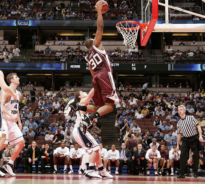 Joseph Jones had 10 points and 12 rebounds to help lead the Aggies to a second-round matchup with No. 1 seed UCLA.