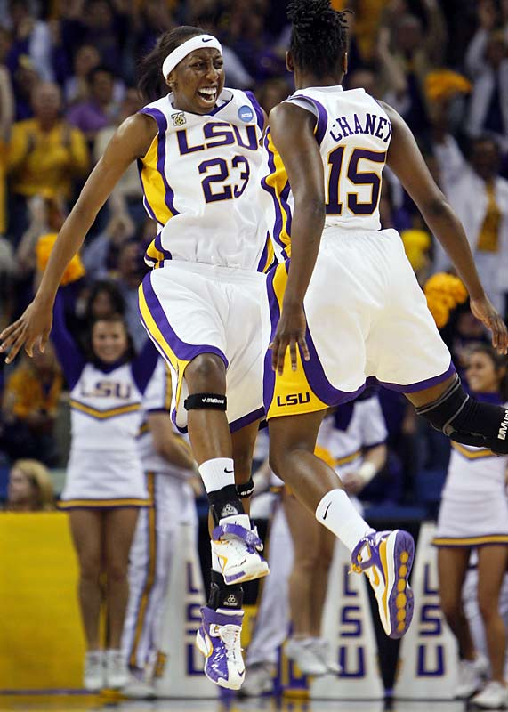 LSU guards Allison Hightower (23) and Quianna Chane (15) had plenty to celebrate after the Tigers went on a 16-4 run to end the first half against Oklahoma St.
