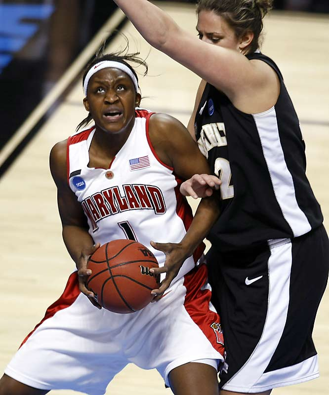 Maryland senior Crystal Langhorne put up 28 points to carry the Terps over Vanderbilt in the Spokane regional semi-finals.