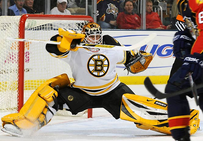 One of the season's unlikely success stories, the 33-year-old journeyman (a ninth-round pick by Colorado in 1994) wrested the No. 1 spot from Manny Fernandez early this season and has produced and All-Star year. If his form holds the lunch bucket Bruins will prove to be a most unpleasant foe into the playoffs.