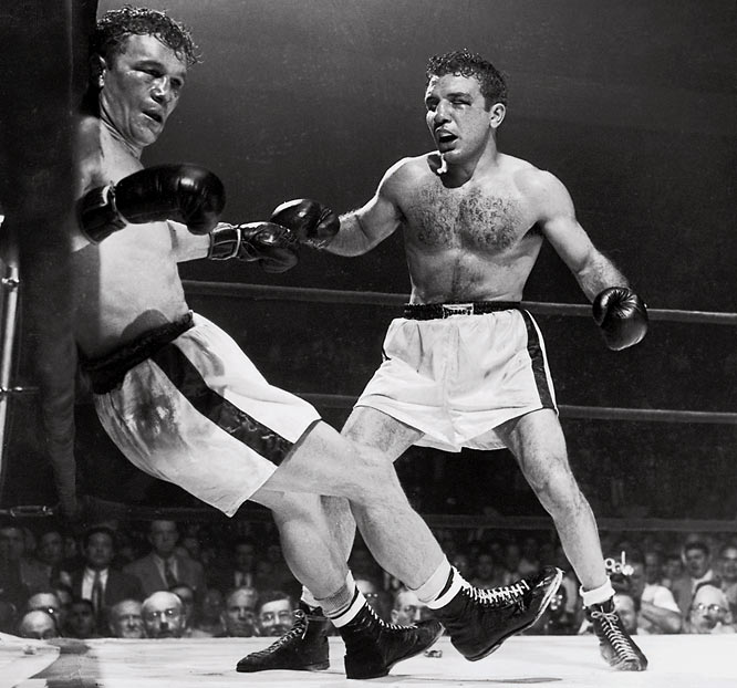 "He was known as the ""Raging Bull"" for his aggressive style and extraordinary ability to absorb punches. LaMotta won 83 of his 106 fights from 1941 through 1954 -- including the first defeat of Sugar Ray Robinson's career in the second of their legendary six-bout rivalry."