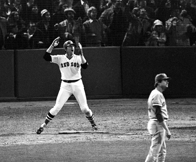 This series wouldn't have gone seven games if Carlton Fisk (pictured) hadn't homered off Reds lefty Pat Darcy in the bottom of the 12th of Game 6. The Reds were down 3-0 through five innings of Game 7, but tied it in the seventh and went ahead with two outs in the ninth on a bloop single by Joe Morgan.