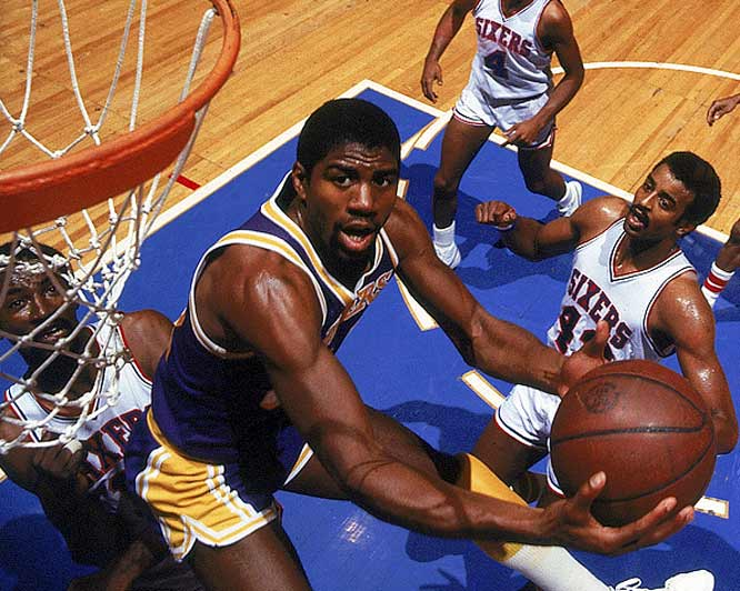 This one's not memorable for the final score, but because with Kareem Abdul-Jabbar sidelined by a bad ankle, rookie Magic Johnson was moved from guard to center. Magic scored a game-high 42 points, with 15 rebounds and seven assists.
