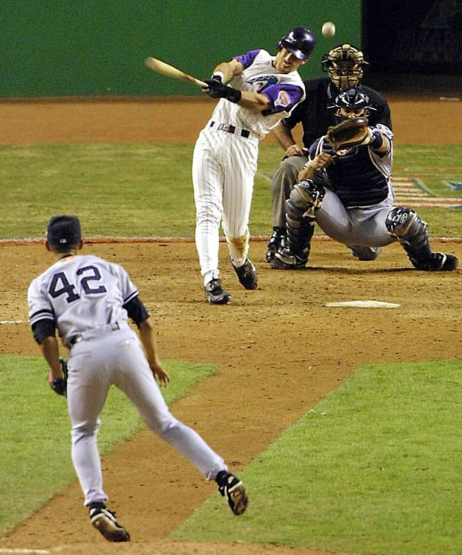 The best postseason closer in baseball was holding a 2-1 lead going into the bottom of the ninth. Never mind what the dandy D-Back duo of Curt Schilling and Randy Johnson had done earlier: The Yanks looked like a lock. But Mariano Rivera got himself in trouble, and Luis Gonzalez won the game 3-2 with a bases-loaded bloop single over a drawn-in shortstop Derek Jeter. Johnson got the win in relief.