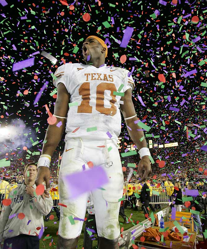 Considered by some as the greatest college football game ever played, the '06 Rose Bowl served as a personal highlight reel for Vince Young. Young threw for 267 yards and rushed for 200 yards and three touchdowns (including the game-winner on fourth down with just 18 seconds left) as Texas won the national title.