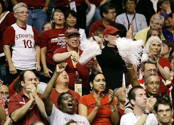 Stanford fans cheer during the Cardinal's 82-73 win over Connecticut in an NCAA women's basketball tournament semifinal on Sunday.