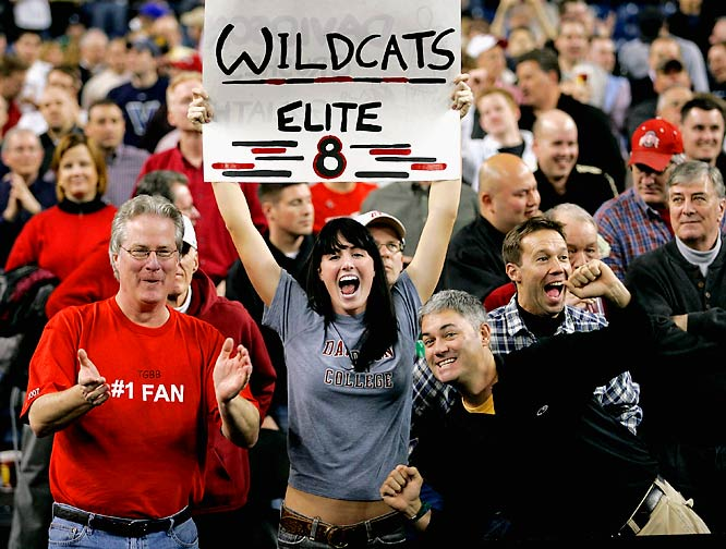Davidson fans celebrate the Wildcats' victory over Wisconsin on Friday.