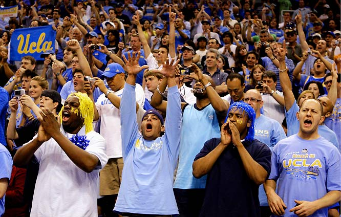 UCLA fans cheer during the trophy presentation after the Bruins beat Xavier, 76-57, in the West Regional final.