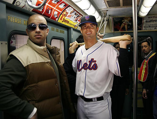 This isn't quite as funny as unleashing live chickens from a briefcase, a la Borat, but putting a wax figure of New York Mets third baseman David Wright on a subway train is pretty amusing.