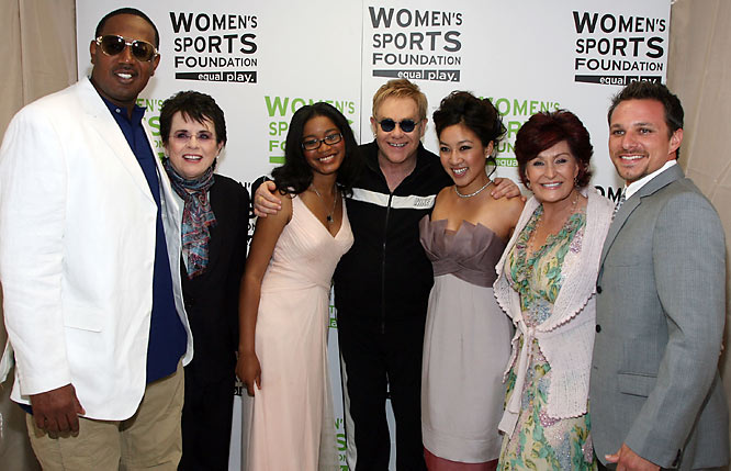 The group expanded to include, from left to right, Master P, Billie Jean King, actress Keke Palmer, Elton John, Michelle Kwan, Sharon Osbourne and Drew Lachey.