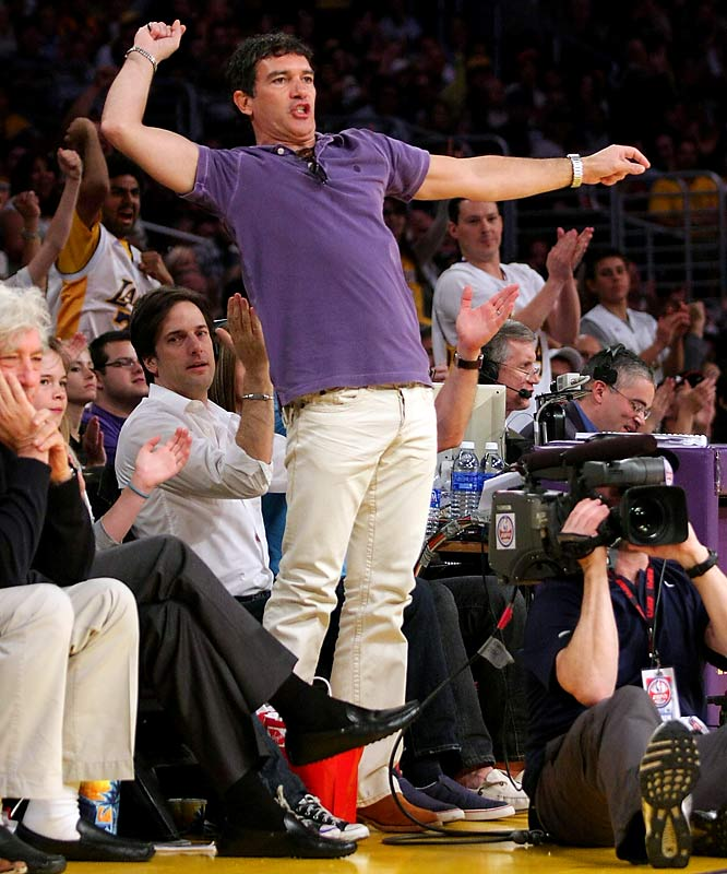 Meanwhile, Antonio Banderas got really excited about the Lakers win against the Nuggets a few days earlier.