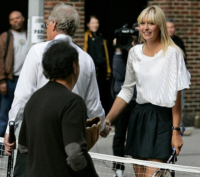 Maria Sharapova joined David Letterman and Billy Crystal for some tennis earlier this week.