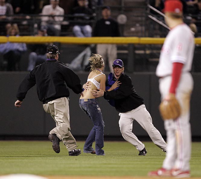 Nothing says baseball like a female streaker, who made her presence known at Tuesday's Rockies-Phillies game.