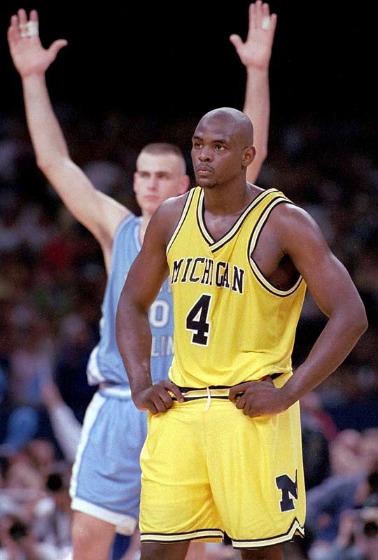 Unfortunately for Chris Webber, this game would make him famous for all the wrong reasons. After an 8-0 run by the Tar Heels, Michigan climbed back within two with 20 seconds left. Webber snagged a rebound, but was forced to take the ball upcourt as his ball handlers were already on the go. With UNC traps awaiting him, the confused Webber made the mistake he'll never forget: he called a timeout with zero remaining for the Wolverines. Technical foul. UNC wins.