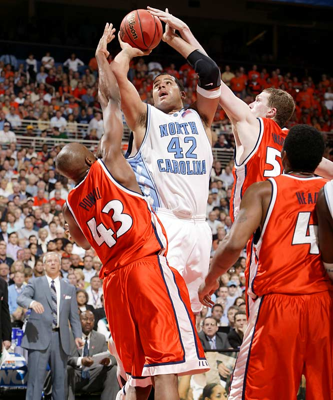 In just his second year as Tar Heels coach, Roy Williams turned a losing team two years prior into a national champion. The Illini rallied back from a 10-point deficit with nine minutes remaining, but they couldn't withstand the Heels persistence, or Sean May. The UNC star scored 26 points and recorded 10 rebounds for Most Outstanding Player honors.