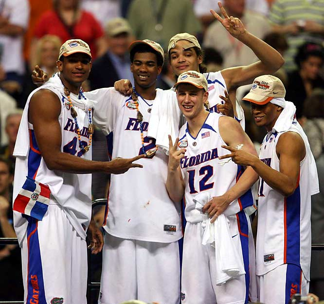 It was the Gators' year, or second year. The same title-bearing starting five helped coach Billy Donovan become the youngest (41) to win two titles, despite 25 points and 12 rebounds by Buckeyes freshman phenon Greg Oden.
