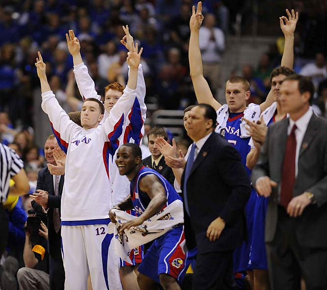 With its 18-point victory Saturday, Kansas moved within a win of its first national championship since 1988.