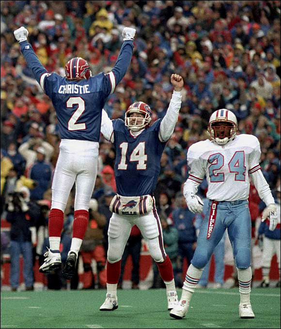 On Jan. 3, in an AFC wild-card playoff, the Houston Oilers blew a 35-3 third-quarter lead to the Buffalo Bills and lost 41-38 on Steve Christie's 32-yard field goal in overtime. The greatest comeback in NFL history helped propel the Bills to their third straight Super Bowl.
