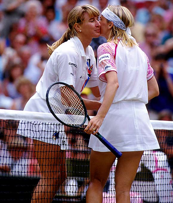In the 1993 Wimbledon women's singles final, Jana Novotná dropped a tight first set against Steffi Graf, but charged back for a 6--7, 6--1, 4--1, 40-15 lead in the deciding set. As victory neared, she became unnerved and missed easy shots, which included hitting the ball out by wide margins. Graf took the next five games and the title.