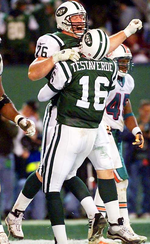 The Miami Dolphins led the New York Jets 30-7 entering the fourth quarter of a Nov. 2000 Monday Night game, but then quarterback Vinny Testaverde went to work. The Jets stormed back to tie the game at 30 before Miami quarterback Jay Fiedler threw a 46-yard touchdown to Leslie Shepherd to give the Fins a 37-30 lead. The Jets responded by marching down the field, with Testaverde eventually lofting a pass to eligible tackle Jumbo Elliott in the end zone. Elliott juggled the ball, but then pulled down the game-tying touchdown. The Jets won 40-37 in overtime.