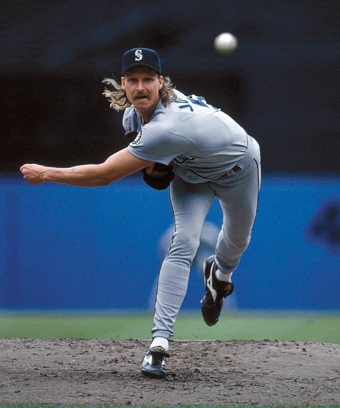 """Jonhson's near 100-mph heater and nasty slider, along with his intimidating figure at 6'10"""", helped catapult him into the club in 2000. At 44, the five-time Cy Young Award winner was just 43 strikeouts shy of passing Clemens for second all-time as of April 23."""
