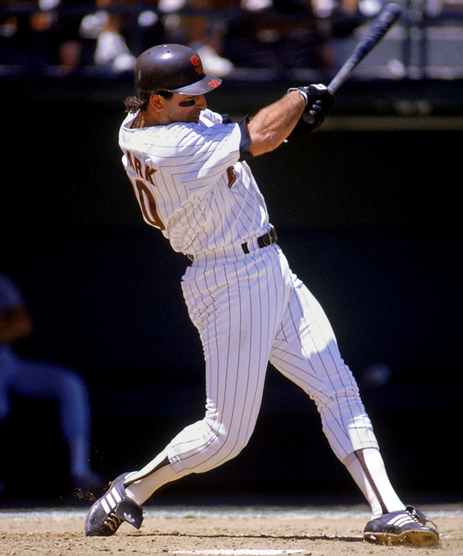 He wore 00 for the Padres during part of the 1990 season, hitting 25 homers and 62 RBIs in 334 at-bats. Over his 18-year career Clark hit 340 homers with 1,180 RBIs. ''It's distinctive. It's fresh, not your basic number,'' Clark said in 1990 when asked why he shifted from No. 25. ''It's your basic non-number.''  Runner-up: Jeffrey Leonard (Brewers, Mariners)  Worthy of consideration:  Tony Clark (Mets), Cliff Johnson (Blue Jays)